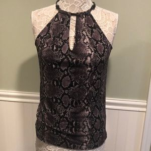 Michael Kors Python Sleeveless Top w/ Leather Trim